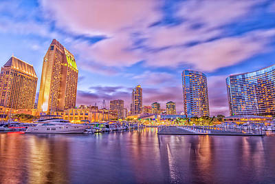 Photograph - A Purple And Gold Night by Joseph S Giacalone