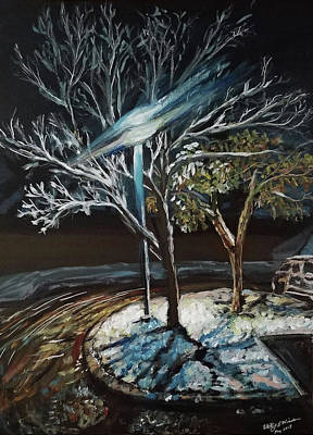 Painting - A Rare Texas Snowfall at the Complex by Whitney Wiedner