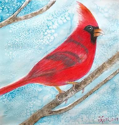 Mixed Media - A Red Bird  by Wonju Hulse