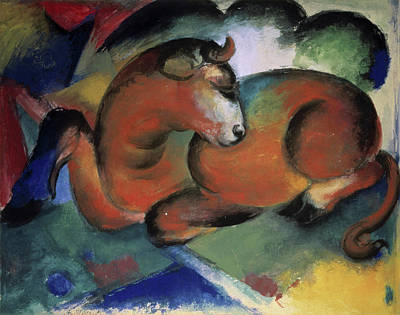 Painting - A Red Bull By Franz Marc, Painting by Superstock