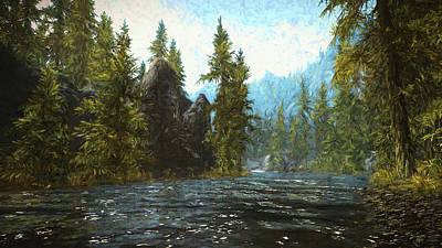Digital Art - A River Flows Thru It by Jason Fink