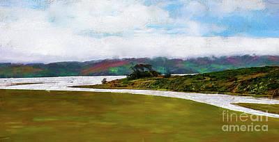Painting - A River Through A Meadow Along The California Coast Ap by Dan Carmichael