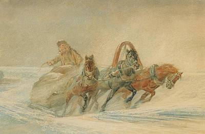 Whipping Wall Art - Painting - A Russian Troika In The Snow by Rudolf Frenz