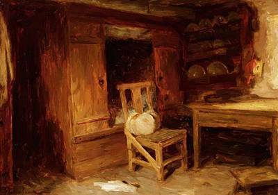 Joseph Farquharson Wall Art - Painting - A Scottish Interior The Box Bed 1874 by Farquharson Joseph