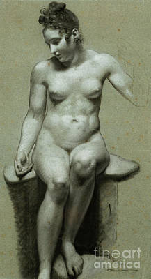 Pastel - A Seated Female Nude  Black And White Chalk  by Pierre-Paul Prudhon