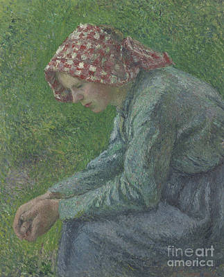 Painting - A Seated Peasant Woman, 1885 by Camille Pissarro