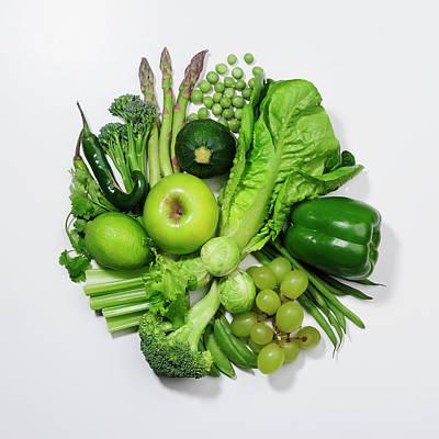 Zucchini Photograph - A Selection Of Green Fruits & by David Malan