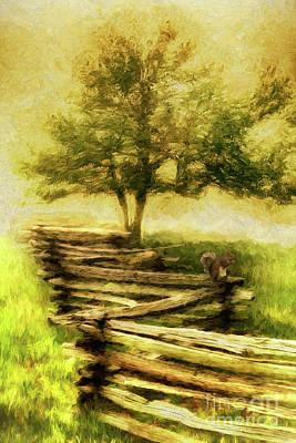 Painting - A Shady Tree On A Foggy Day Ap by Dan Carmichael