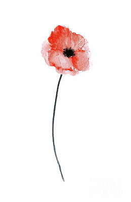 Painting - A Single Red Poppy Watercolor by Joanna Szmerdt