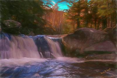 Digital Art - A Small New England Waterfall. by Rusty R Smith