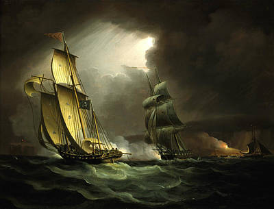 Painting - A Smuggling Lugger Chased By A Naval Brig by Thomas Buttersworth