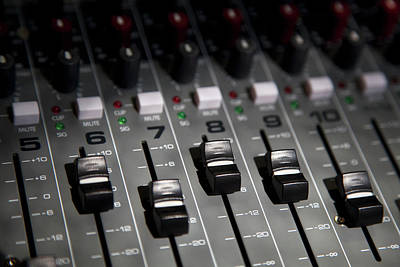 A Sound Mixing Board, Close-up, Full Art Print by Tobias Titz