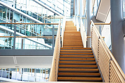 Photograph - A Staircase In A Modern Office Building by Lappes