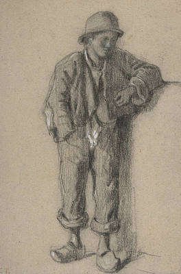 Drawing - A Standing Peasant Boy In Hat And Wooden Shoes by Constant Troyon
