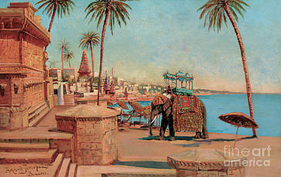 Painting - A State Elephant At The Raja, Benares by Holger Hvitfeldt Jerichau