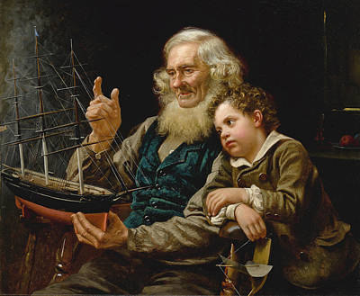Painting - A Story Of The Sea by John George Brown