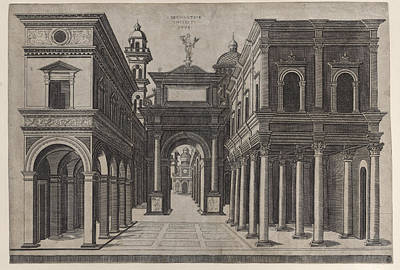 Drawing - A Street With Various Buildings, Colonnades And An Arch by Donato Bramante