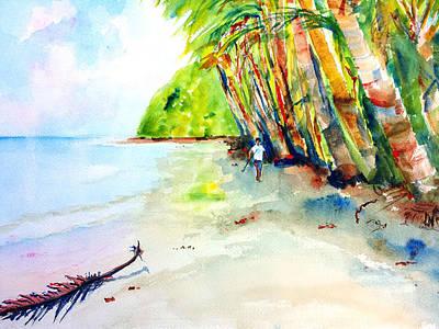 Painting - A Stroll On Batibou Beach 2 by Carlin Blahnik CarlinArtWatercolor