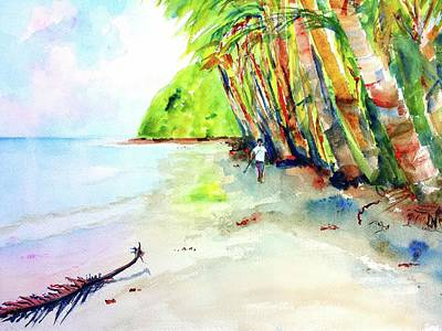 Painting - A Stroll On Batibou Beach Dominica by Carlin Blahnik CarlinArtWatercolor