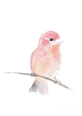 Painting - A Sweet Purple Finch Perched On A Wire by Joanna Szmerdt