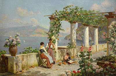 Antique Roses Vase Wall Art - Painting - A Terrace On Capri by Augusto Lovatti