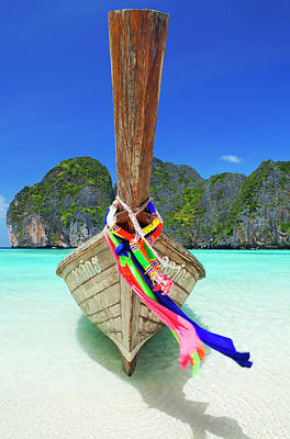 Longtail Wall Art - Photograph - A Thai Longtail Boat Moored On The by Alex Hare