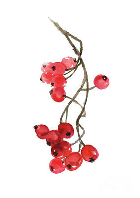 Painting -  A Twig Of Red Winter Berries by Joanna Szmerdt