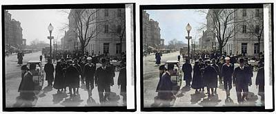 Comedian Drawings - a view on 17th Street, N.W., near the corner of G St. NW and 17th, looking south 1918 colorized-imag by Ahmet Asar