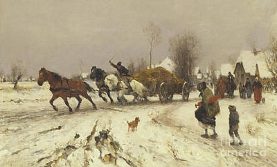 Painting - A Village In Winter, 1876 by Thomas Ludwig Herbst