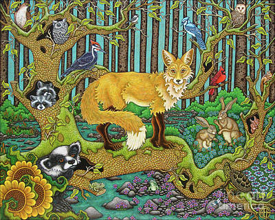 Painting - A Vixen In The Forest by Amy E Fraser