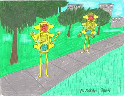 Drawing - A Walk In The Park by Barb Moran