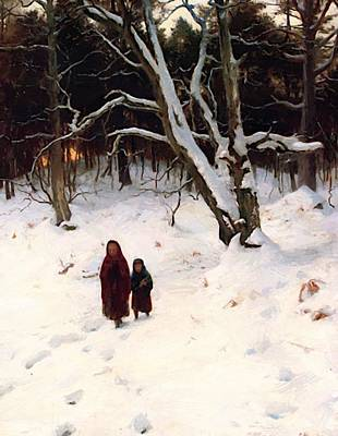 Joseph Farquharson Wall Art - Painting - A Walk In The Snow by Farquharson Joseph