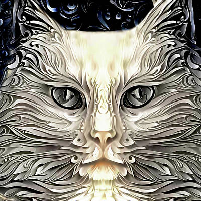 Digital Art - A White Cat Named Ivory by Peggy Collins