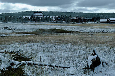 Photograph - A Winter Landscape At Yellowstone's Old Faithful Inn by Bruce Gourley
