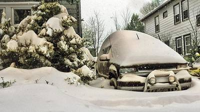 Food And Flowers Still Life - A winter storm brings heavy snow to the Boston area nearly burying this SUV by Artistic Panda