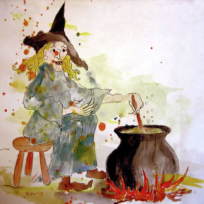 Painting - A Witch Called Zee by Valerie Anne Kelly
