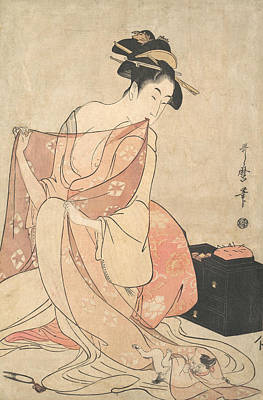 Relief - A Woman And A Cat by Kitagawa Utamaro