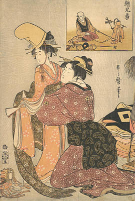 Relief - A Woman Dressing A Girl For A The Kabuki Dance by Kitagawa Utamaro