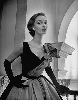 Photograph - A Woman Modelling A Short Ball Gown.  P by Nina Leen