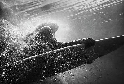 Photograph - A Woman On A Surfboard Under The Water by Ben Welsh / Design Pics