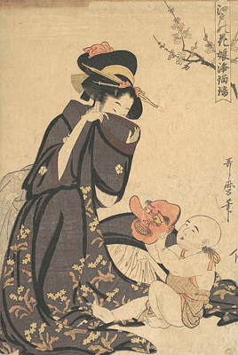 Relief - A Woman Playing With A Young Boy by Kitagawa Utamaro