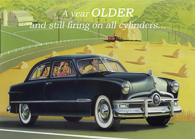 Painting - A Year Older And Still Firing On All Cylinders Greeting Card - 1950 Custom Ford Antique Automobile by Walt Curlee
