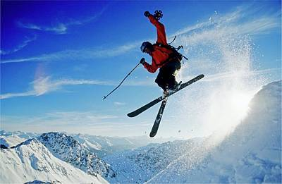 Ski Resort Photograph - A Young Skier, A Freerider Jumping Over by Bernard Van Dierendonck / Look-foto