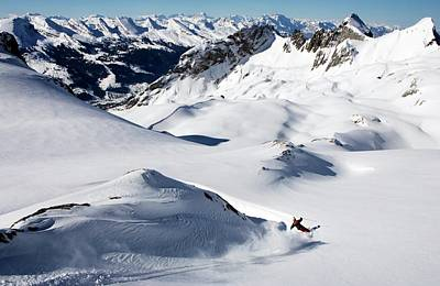 Ski Resort Photograph - A Young Skier, A Freerider Makes A Turn by Bernard Van Dierendonck / Look-foto