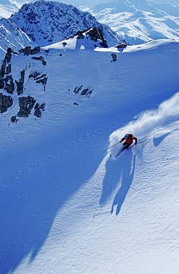 Ski Resort Photograph - A Young Skier, A Freerider Skiing In by Bernard Van Dierendonck / Look-foto