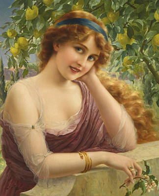 Painting - A Young Woman By A Lemon Tree by Emile Vernon