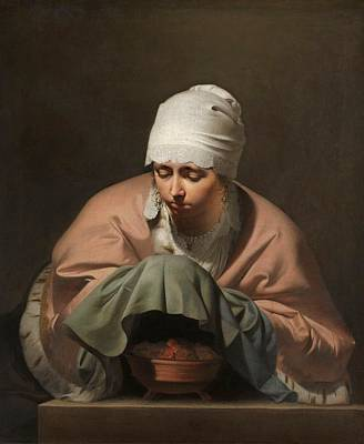 Painting - A Young Woman Warming Her Hands Over A Brazier by Caesar Boetius van Everdingen