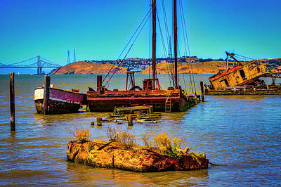 Photograph - Abandoned Boats Benicia Bay by Garry Gay