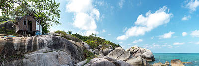 Digital Art - Abandoned bungalow on top of the rocks in a tropical island Koh Phangan, Thailand by Tanel Murd