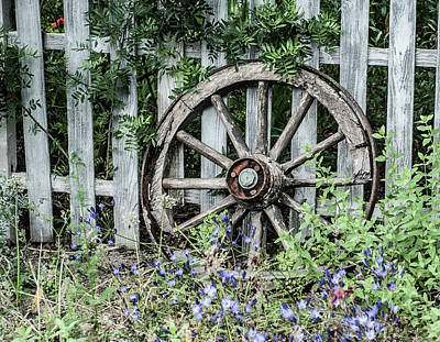 Photograph - Abandoned Cart Wheel by Helen Northcott